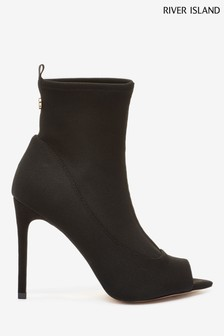 River Island Black Nala Sock Shoe-Boot Sandals