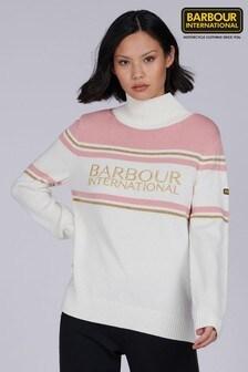 Barbour® International White Gold Trim Logo Wheelspin Jumper