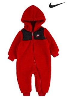 Nike Infant Red Sherpa Fleece All-In-One