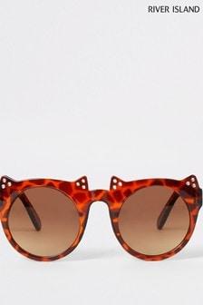 River Island Brown Tortoiseshell Effect Cat-Eye Sunglasses