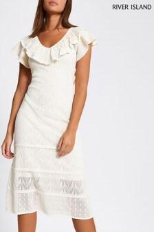 River Island Cream Maxi Pretty Stitch Dress