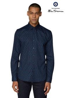 Ben Sherman Navy Long Sleeve Floral Shirt