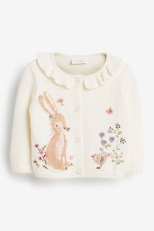 Bunny Frill Neck Cardigan (0mths-2yrs)