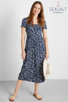 Seasalt Navy Short Sleeve Seed Packet Dress