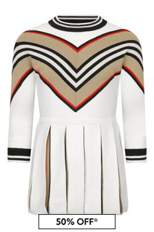 Burberry Kids Girls White Merino Wool Dress