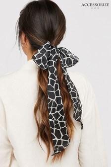 Accessorize Blue Giraffe Silk Skinny Scarf