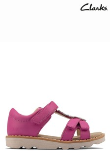 Clarks Hot Pink Leather Crown Flower T Sandals