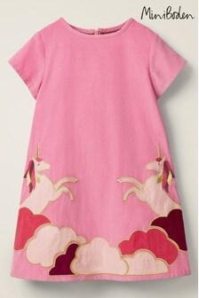 Boden Pink Unicorn Appliqué Woven Dress