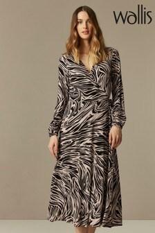 Wallis Nude Neutral Marble Jersey Wrap Midi Dress