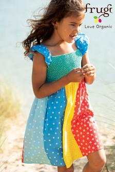 Frugi Pink GOTS Organic Rainbow Dress