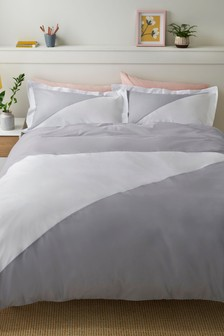 Set aus Bettbezug und Kissenbezug mit geometrischem Blockfarben-Design