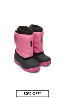 Girls Pink/Black Snow Boots