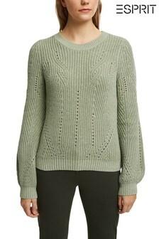 Esprit Green Cotton Blend Pointelle Jumper