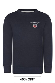 Boys Navy Cotton Shield Logo Sweater