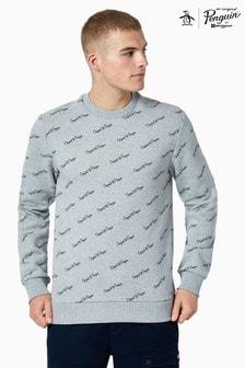 Original Penguin® Grey All Over Print Script Logo Sweatshirt