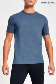 River Island Airforce Blue Slim T-Shirt