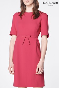 L.K. Bennett Pink Elina Bow Belt Dress