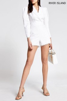 River Island Cream Broderie Tailored Playsuit