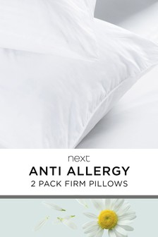 Firm Set of 2 Anti Allergy and Antibacterial Pillows