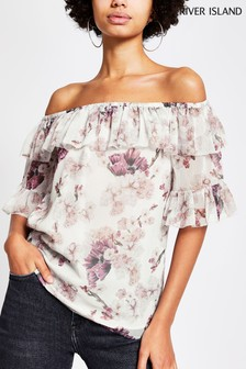 River Island Pink Medium Floral Ruffle Bardot Top