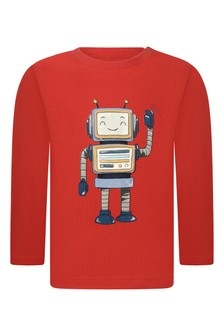 Baby Boys Red Robot Cotton T-Shirt