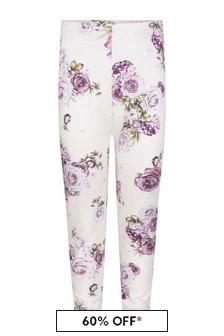 Girls Beige Rose Cotton Jersey Leggings