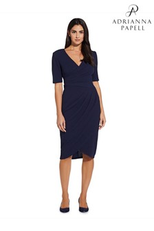 Adrianna Papell Blue Rio Knit Draped V-Neck Sheath Dress