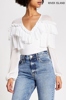 River Island White V-Neck Frill Body