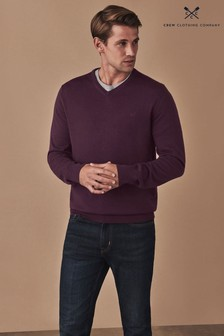 Crew Clothing Company Purple Merino V-Neck Jumper