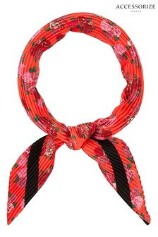 Accessorize Red Mixed Floral Crinkle Square Scarf