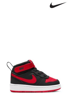 Nike Black/Red Court Borough Mid Infant Trainers