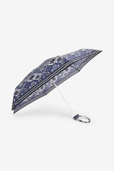 Floral Tile Print Compact Umbrella