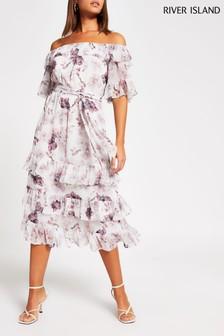 River Island Pink Medium Bardot Ruffle Midi Dress