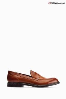 Base London® Tan Scoria Slip-On Penny Loafers