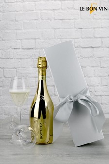 Gold Prosecco In Silver Bow Gift Set by Le Bon Vin