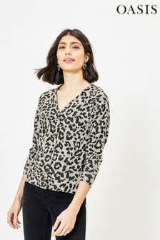 Oasis Natural Leopard Cosy Cardigan