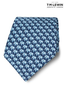 T.M. Lewin Made In Italy Wide Navy And Blue Elephant Silk Tie
