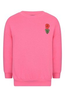 Girls Pink Viola Embroidered Sweater