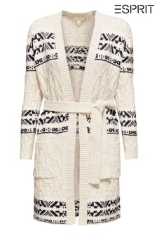 Esprit Cream Jacquard Cardigan With Belt