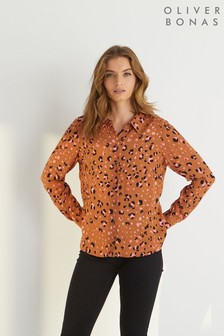 Oliver Bonas Brown Leopard Print Tan Long Sleeved Shirt
