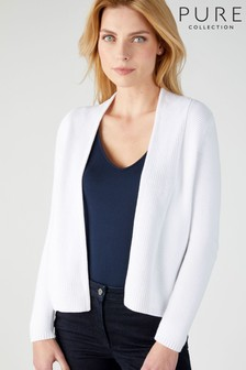 Pure Collection White Cotton Textured Cardigan