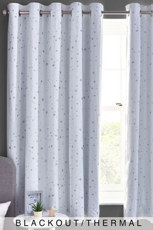 White Embroidered Stars Eyelet Blackout Curtains
