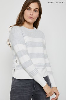 Mint Velvet Grey Blocked Stripe Boxy Jumper