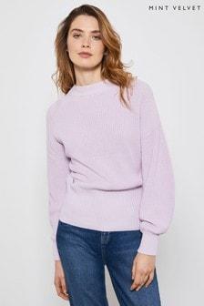 Mint Velvet Purple Lilac Cotton Stitch Jumper