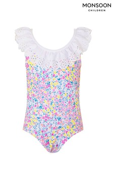 Monsoon Pink Baby Ditsy Floral Frill Swimsuit