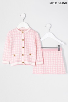 River Island Pink Cardigan And Skirt Set