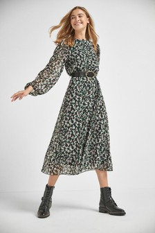Printed Long Sleeve Belted Dress