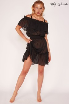 Wolf & Whistle Black Bardot Frill Beach Dress