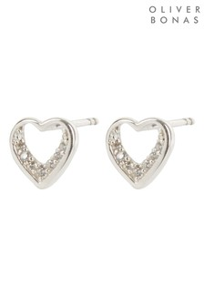 Oliver Bonas Heart & Stone Detail Silver Stud Earrings