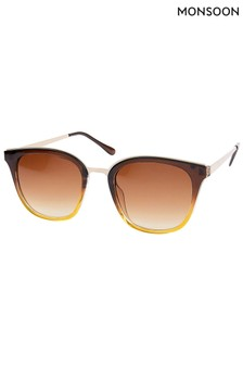 Monsoon Brown Ohio Ombre Preppy Sunglasses